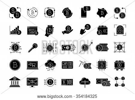 Bitcoin Cryptocurrency Glyph Icons Set. Digital Money. Crypto Currency. Mining Business. Bitcoin Tra
