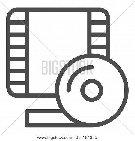 Videotape Frame Line Icon. Film Strip Symbol, Outline Style Pictogram On White Background. Multimedi