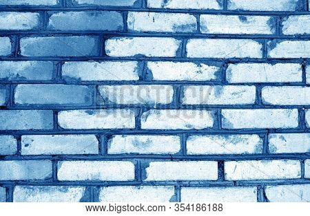 Old Grungy Brick Wall Texture In Navy Blue Tone. Abstract Architectural Background And Texture For D
