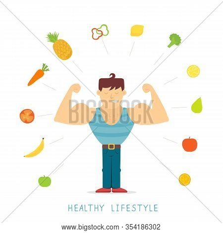 Strong And Tough Man. Bodybuilding. Healthy Lifestyle Theme. Vegetarian Food. Vegetables And Fruits