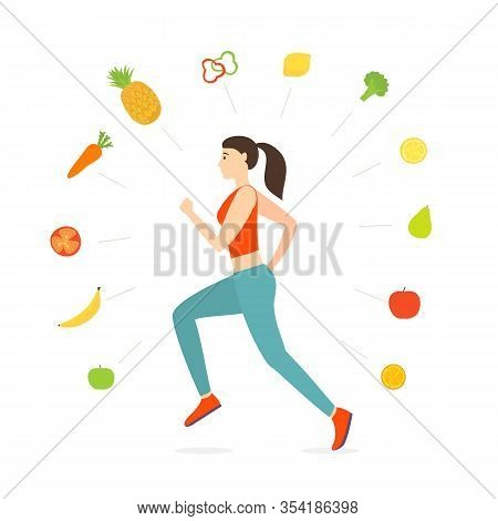 Jogging Girl Dressed In Sportswear. World Health Day. Vegetables And Fruits Around Running Woman Iso