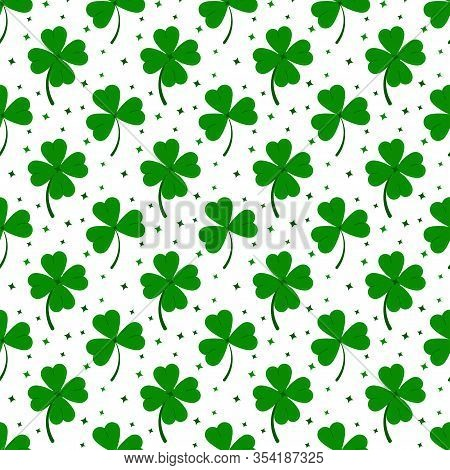 Clover Leaves Seamless Pattern Isolated On White Background: Green Lucky Four Leaf Clover And Shamro