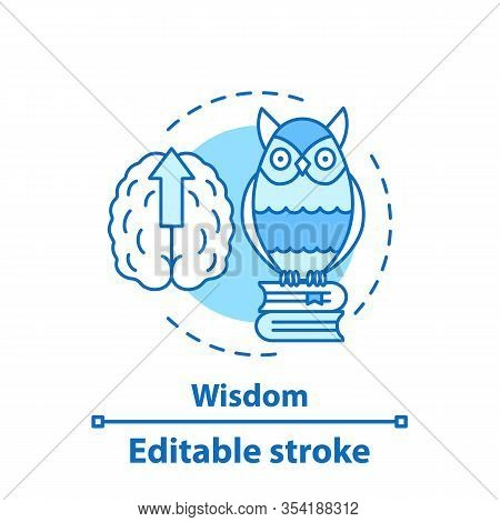 Wisdom Concept Icon. Gaining Knowledge Idea Thin Line Illustration. Education. Owl On Books Stack. V