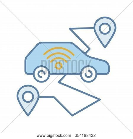 Self Driving Car Color Icon. Smart Navigation. Setting Pickup And Drop Off Locations. Driverless Aut