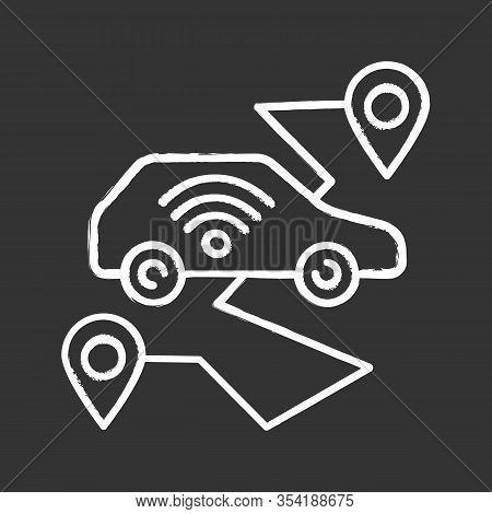 Self Driving Car Chalk Icon. Smart Navigation. Setting Pickup And Drop Off Locations. Driverless Aut