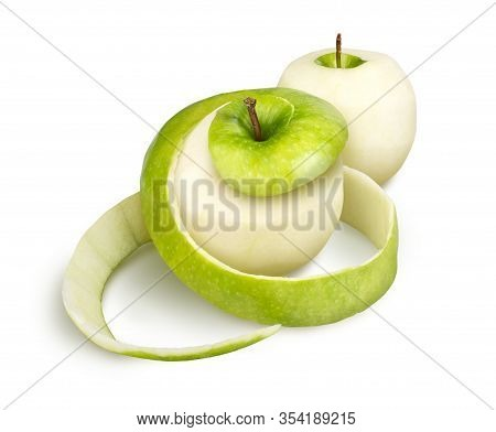 Peeled Apple With Peel On A White Background
