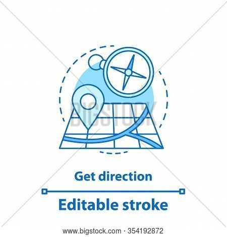 Getting Direction Concept Icon. Gps Navigation Idea Thin Line Illustration. Map With Pinpoint And Co