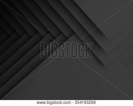 Minimalist Black Cg Background, Abstract Geometric Pattern Of Corners. 3d Rendering Illustration