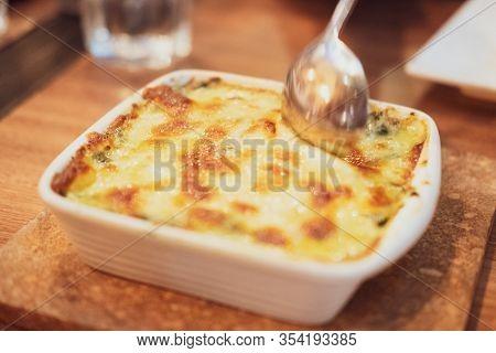 Spinach Lasagna With Cheese Italian Food Style. Vegetarian Lasagna