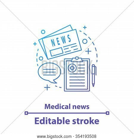 Medical News Concept Icon. Medical Article Idea Thin Line Illustration. Scientific Publication. Rese