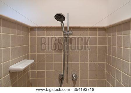 Shower Faucet In A Shower Room. Modern Shower Room Equipment.