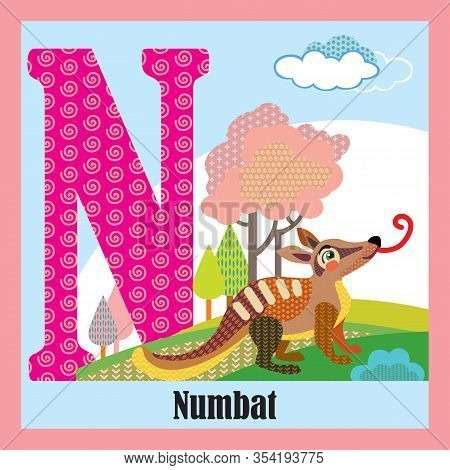 Vector Cartoon Flashcards Of Animal Alphabet, Letter N. Colorful Cartoon Illustration Of Letter N An
