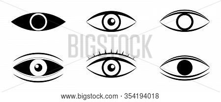 Eyes And Eye Icon Set Vector Collection. Human Vision. Set Of Eye Icon Flat Style. Look And Vision I