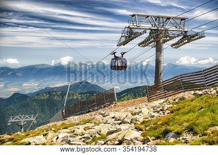 Demanovska Dolina, Slovakia - Jun 20: Ropeway Funitel In Low Tatras Mountains On Jun 2, 2016 In Dema
