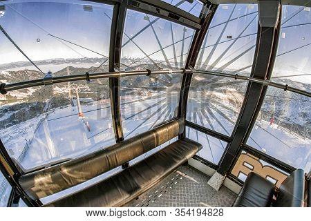 Demanovska Dolina, Slovakia - December 20: Inside Of Empty Cableway Funitel At Ski Resort Jasna On ,