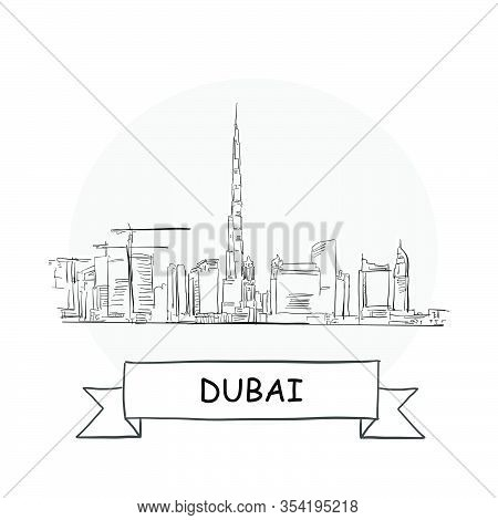 Dubai Cityscape Vector Sign. Line Art Illustration With Ribbon And Title.