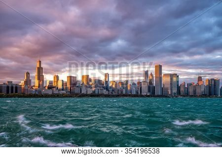 Downtown Chicago Skyline At Sunset
