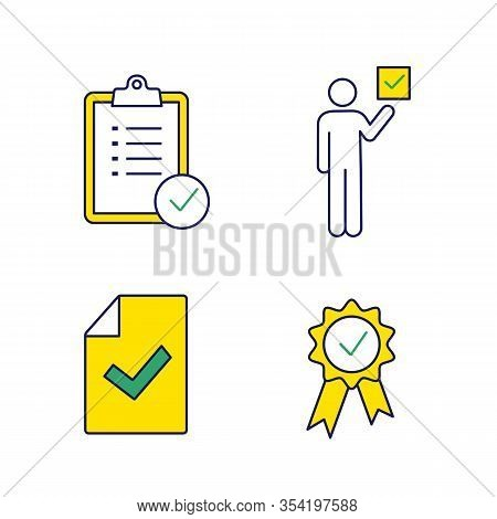 Approve Color Icons Set. Verification And Validation. Task Planning, Voter, Document Verification, A