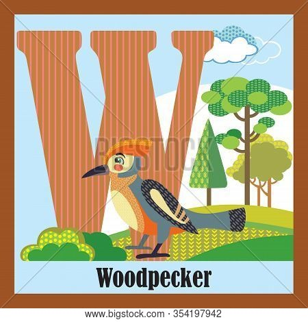 Vector Cartoon Flashcards Of Animal Alphabet, Letter W. Colorful Cartoon Illustration Of Letter W An