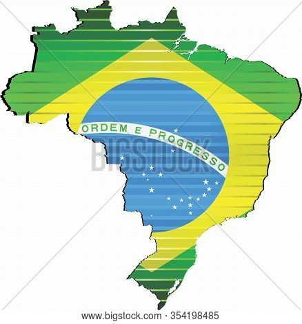 Shiny Grunge Map Of The Brazil - Illustration,  Three Dimensional Map Of Brazil
