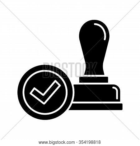 Stamp Approved Glyph Icon. Stamp Of Approval. Verification And Validation. Certified, Approved. Silh