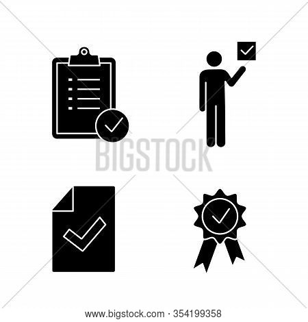 Approve Glyph Icons Set. Verification And Validation. Task Planning, Voter, Document Verification, A