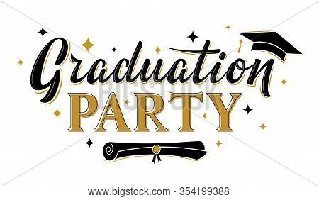 Graduation Party Greeting Sign With Academic Cap. Vector Design For Graduation Design, Congratulatio