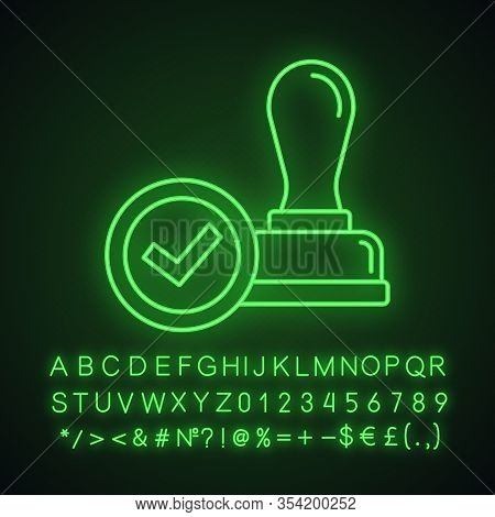 Stamp Approved Neon Light Icon. Stamp Of Approval. Verification And Validation. Certified, Approved.