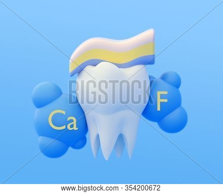 Clean White Healthy Strong Tooth Molar, Calcium And Fluoride Toothpaste. 3d Illustration