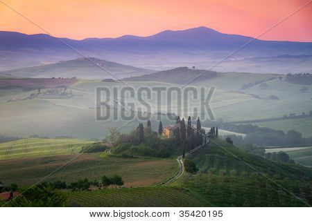 Tuscany Farmhouse Belvedere at dawn, San Quirico d'Orcia, Italy