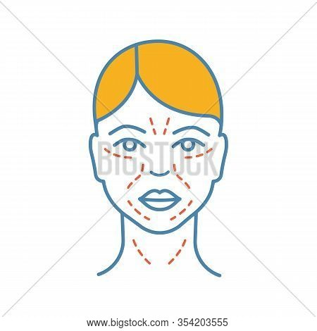Mimic Wrinkles Color Icon. Facial Skin After Thirty. Face Ageing. Facial Markup For Cosmetic Procedu