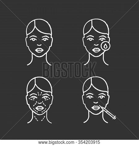 Neurotoxin Injection Chalk Icons Set. Woman Face, Makeup Removal, Mimic Wrinkles, Lips Injection. Is