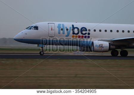 Amsterdam The Netherlands - July 26th 2018: G-fbjd Flybe Embraer Erj-175 Takeoff From Polderbaan Run