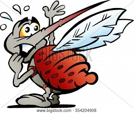 Vector Cartoon Illustration Of A Scared Afraid Mosquito