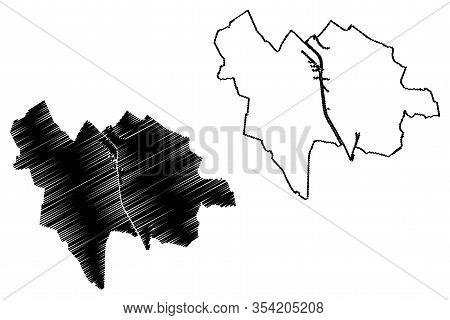 Utrecht City (kingdom Of The Netherlands, Holland) Map Vector Illustration, Scribble Sketch City Of