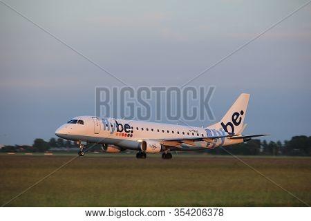 Amsterdam, The Netherlands  - June 1st, 2017: G-fbja Flybe Embraer Erj-175std Taking Off From Polder