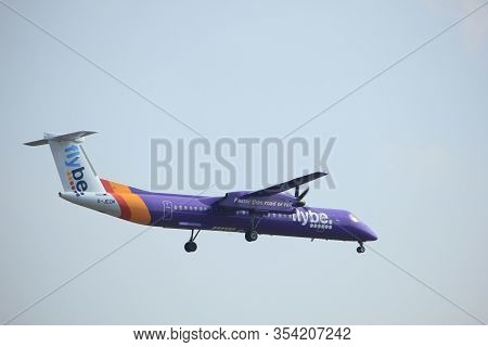 Amsterdam, The Netherlands - March 31st, 2017: G-jecm Flybe De Havilland Canada Dhc-8-400 Approachin