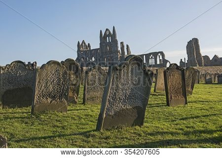 Remains Of An Ancient English Abbey Ruins With Gothic Architecture In Rural Countryside Landscape An