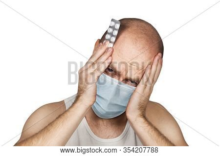 Man Taking Pill Medication, Wearing Protective Face Mask Prevent Virus Infection, Pollution On White