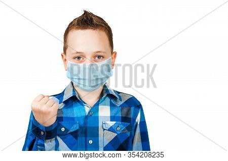 Sad Boy Show His Fist, Wearing A Protective Face Mask Prevent Virus Infection Or Pollution On White