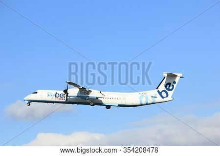 Amsterdam The Netherlands - April 7th, 2017: G-jeco Flybe De Havilland Canada Dhc-8-402q Dash 8 Take