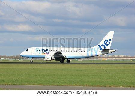 Amsterdam The Netherlands - April 7th, 2017: G-fbjg Flybe Embraer Erj-175std Takeoff From Polderbaan