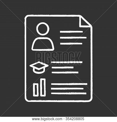 Resume Chalk Icon. Cv. Curriculum Vitae. Personal Information. Isolated Vector Chalkboard Illustrati