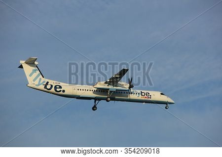 Amsterdam The Netherlands - July 7th 2017: G-ecop Flybe De Havilland Canada Dhc-8-400 Approaching Sc