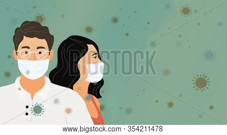 Coronavirus. 2019-nc0v. Covid-19. Wuhan Novel. Women And Man In Protective Medical Masks Against A B