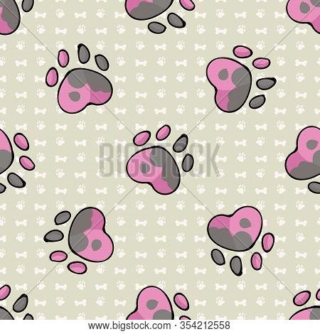 Hand Drawn Cute Spotty Puppy Dog Paw Seamless Vector Pattern. Wild Animal Paw Pad Background. Fun Jo