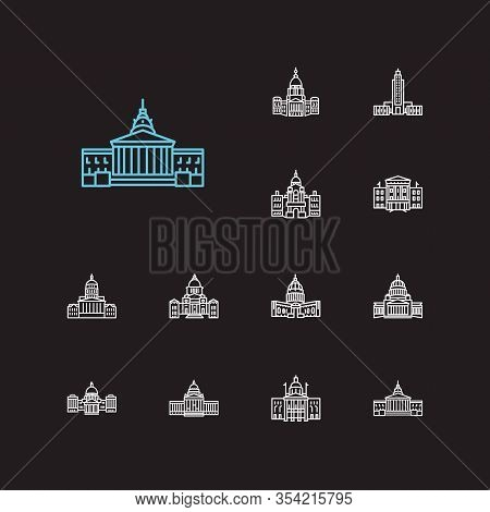 America Icons Set. Louisiana State Capitol And America Icons With Senate, New Hampshire State Capito
