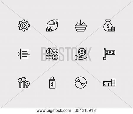 Finance Trading Icons Set. Yield And Finance Trading Icons With Invest Money, Execution And Trading