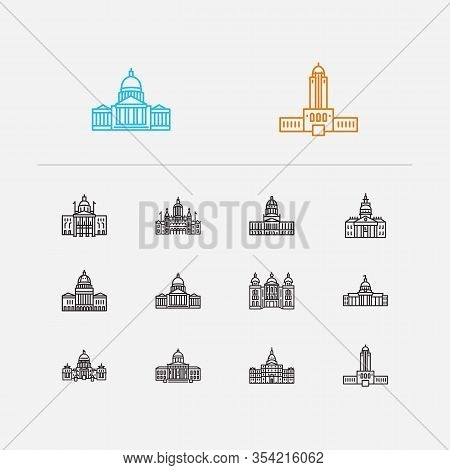 Us Capitols Icons Set. Alabama State Capitol And Us Capitols Icons With Skyscraper, Downtown And Arc
