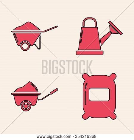 Set Bag Of Flour, Wheelbarrow With Dirt, Watering Can And Wheelbarrow With Dirt Icon. Vector